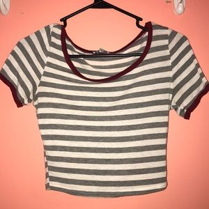 Maroon, grey and white stripped crop top!